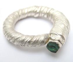 Fine silver, emerald.