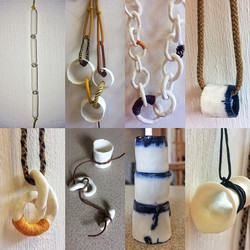 Porcelain, silver, leather, cord