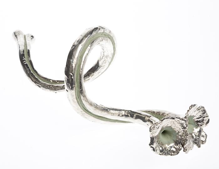 Fine silver, glass, enamel.