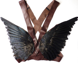 Leather, crows' wings, cotton
