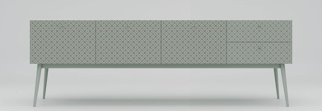 Cassettiera moderna e di design, con finitura laccata bicolore. Mobile a cassetti artigianale con decoro cementine. Comò di design