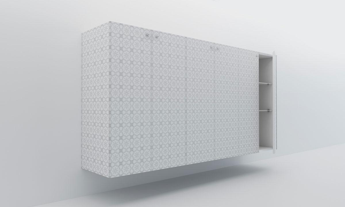 Credenza sospesa con finitura laccata bianca. Mobile di design per la zona living decorato