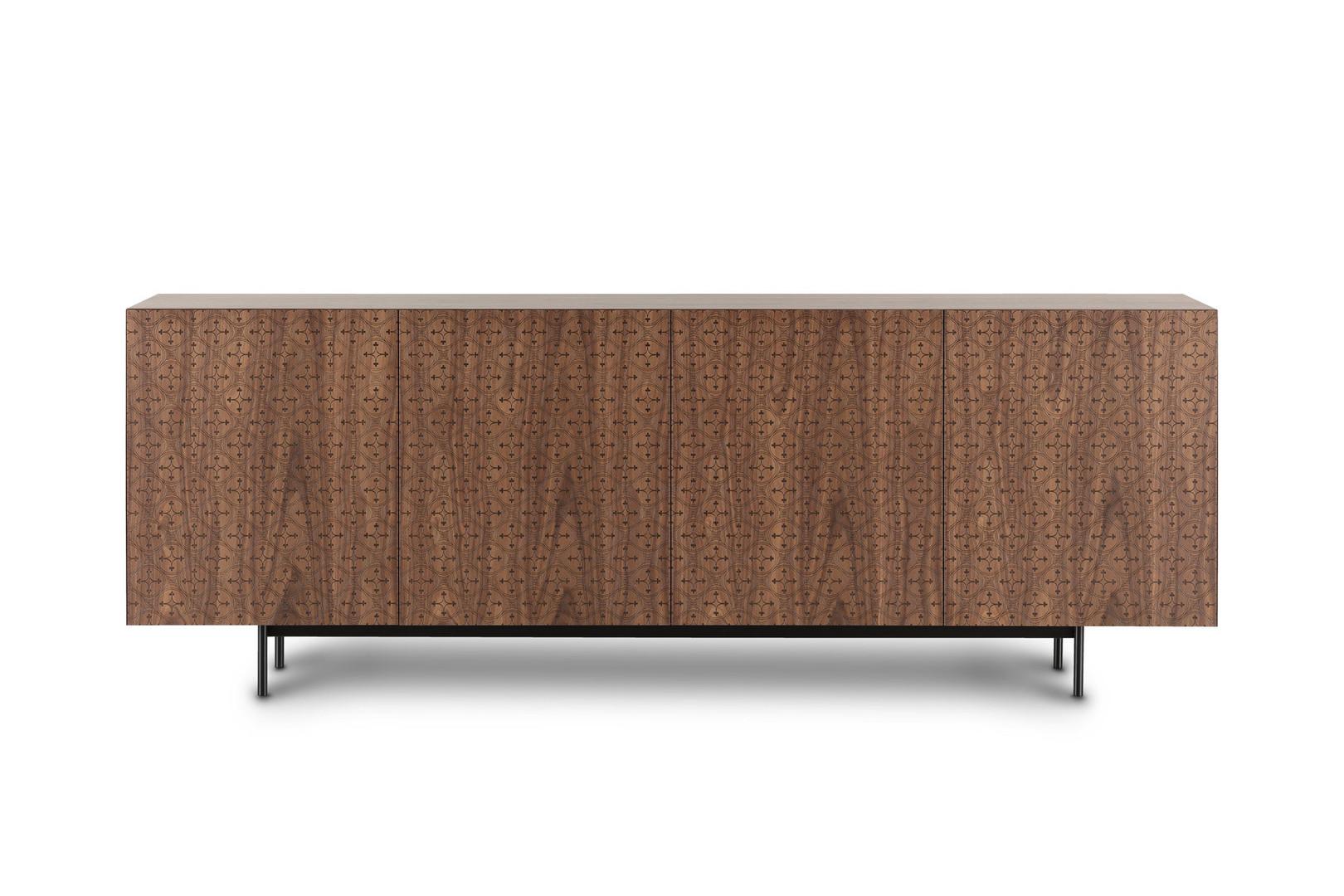 Madia, Mobile TV, credenza di design e moderna decorata. Madia in Noce Canaletto naturale con tagli a 45 gradi. Mobile artigianale Barba design