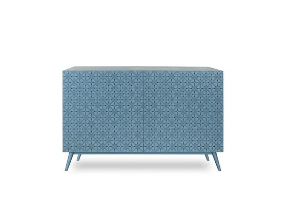 Mobile soggiorno di design decorato su ante e fianchi