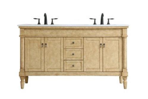 """Elegant Lexington 60"""" Double Vanity with Drawers"""