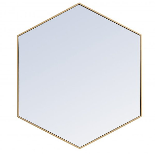 "Elegant Decker 35"" Hexagon Wall Mirror"