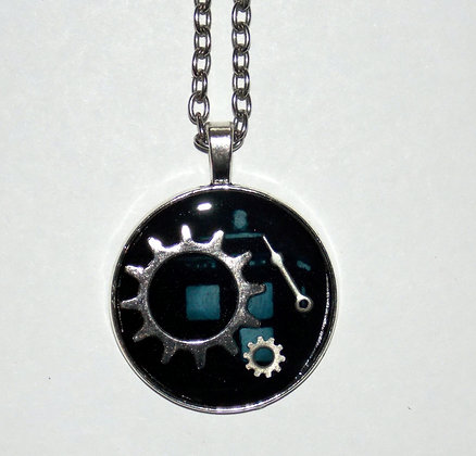 Midnight Time and Space Gear Pendant