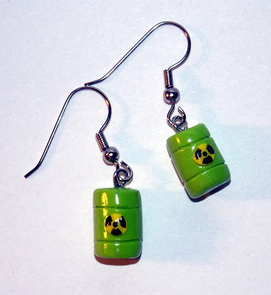 Toxic Waste Barrel Earrings