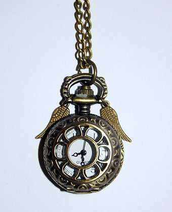 Winged Pocket Watch Necklace