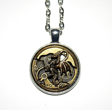 Clockwork Dragon Medallion Necklace