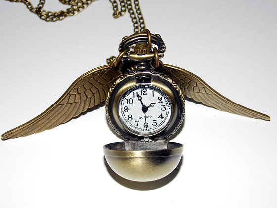 Winged Ball Pocket Watch Necklace