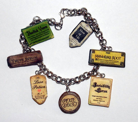 Wizards Potion Labels Charm Bracelet