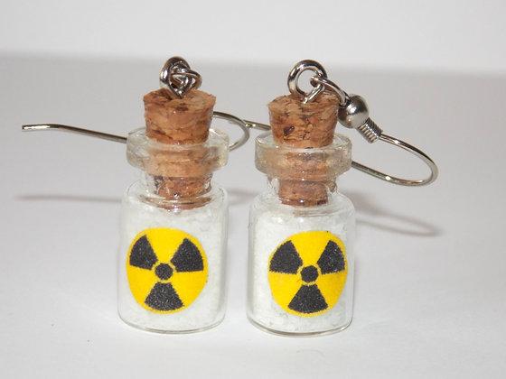 Radioactive Waste Bottle Earrings (Glow)