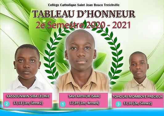 Tableau d'honneur du 2e semestre