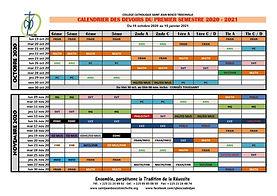 Calendrier des devoirs du 1er semestre 2020-2021 SJB - 1/2