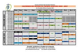 Calendrier des devoirs du 1er semestre 2020-2021 SJB 2/2