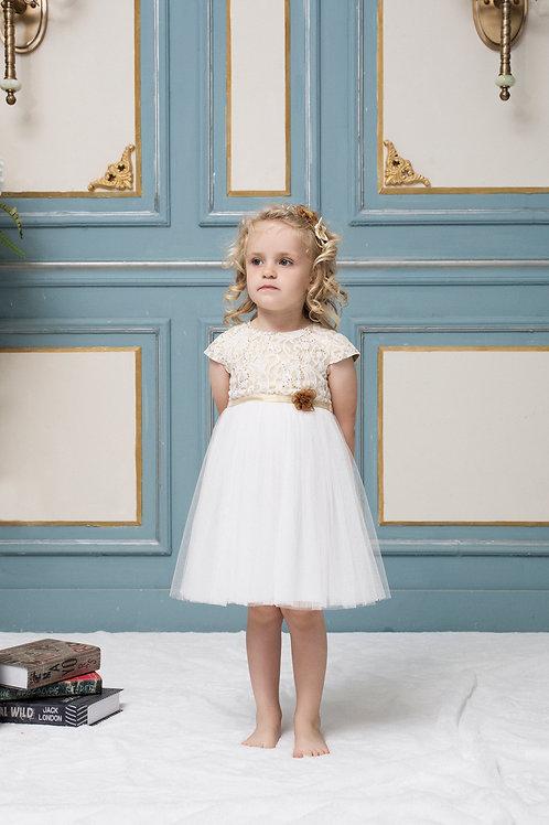 Sofia Golden Glitter Tutu Dress With Sequins Lace