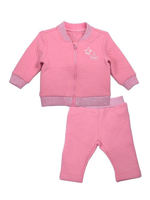 Nicky 2-Piece Pink Jacket Sets on Jacquard Fabric