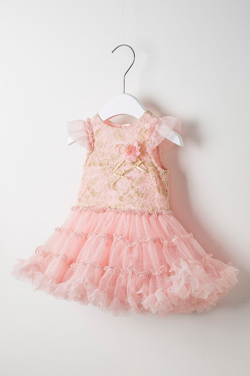 Coco Pink Tutu Dress with Gold Flower Lace
