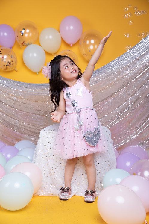 Girls' Sleeveless Silver Star Pink Mesh Dress With Purse