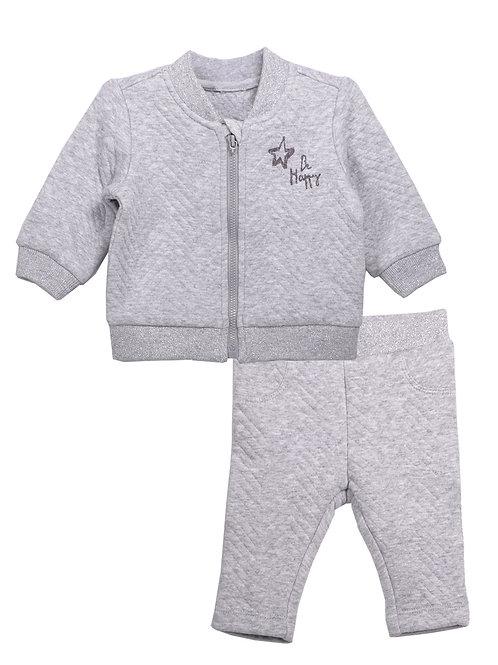 Paris 2-Piece Light Grey Jacket Sets on Jacquard Fabric