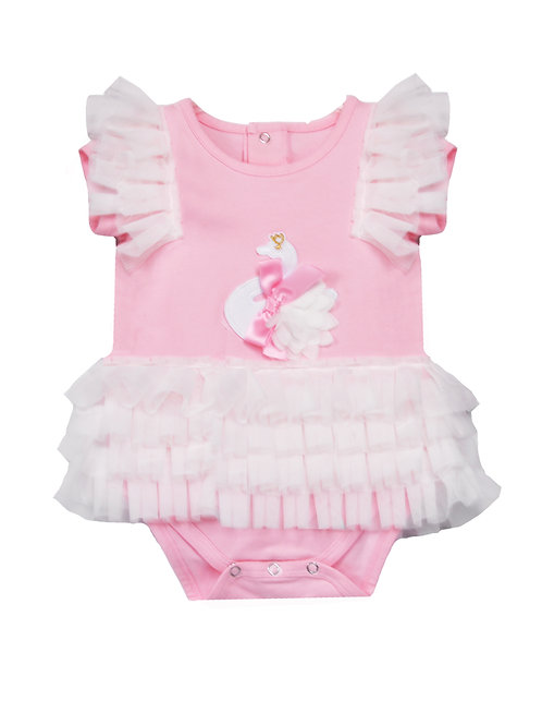 Baby Girls' White Swan Mesh Bodysuit Dress