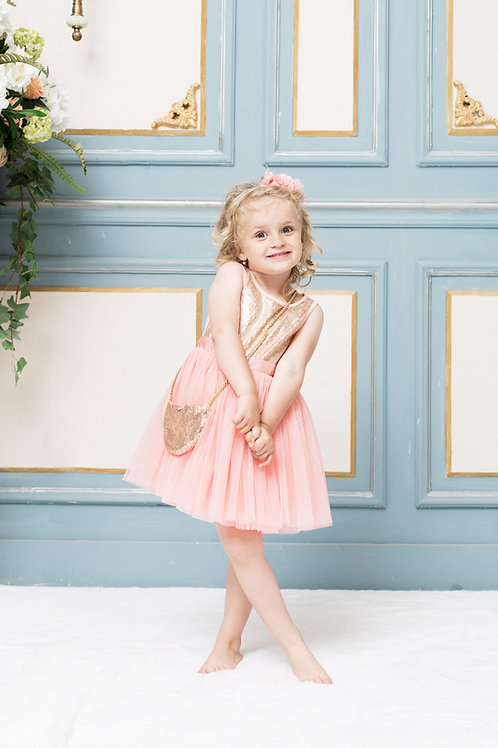 Olivia Pink Sequin Dress With Golden Sequin Purse