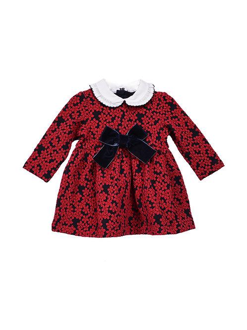 Eleanor Red and Black Elegant Jacquard Dress