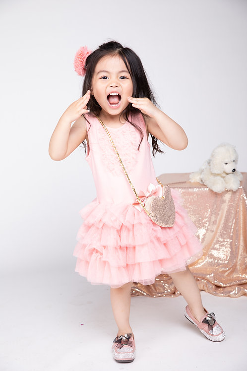 Girls' Peachy Mesh Tiered Sleeveless Dress With Purse