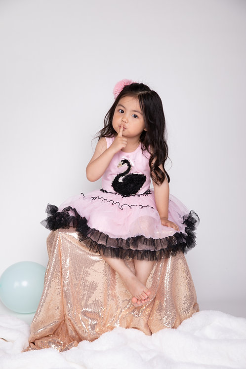 Lena Pink Mesh Dress With Black Swan Applique