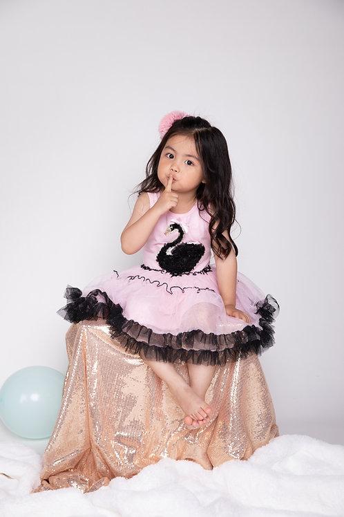 Lena Pink Mesh Dress With Black Swan Applique