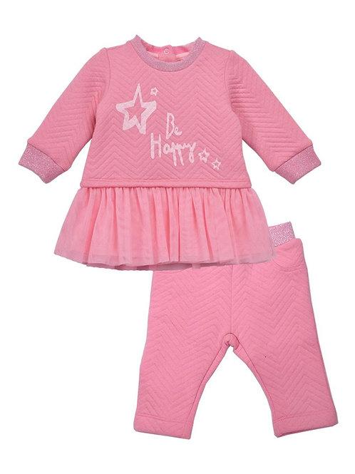 Christine Pink Star Jacquard Fabric 2-Piece Mesh Legging Sets