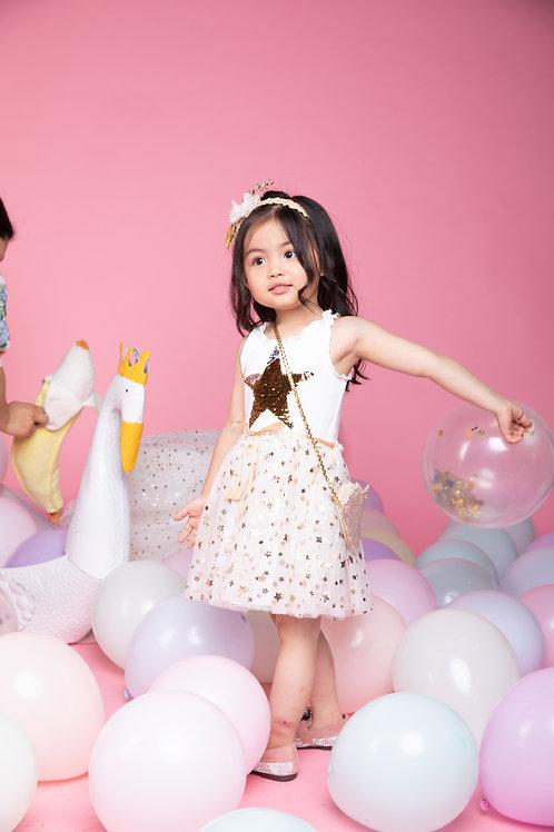 Girls' Sleeveless Gold Star White Mesh Dress