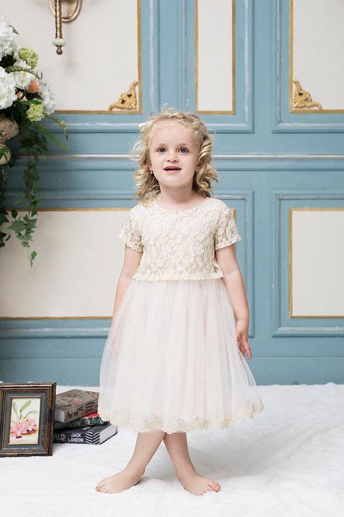 Jackie Golden Tutu Dress With Lurex Lace