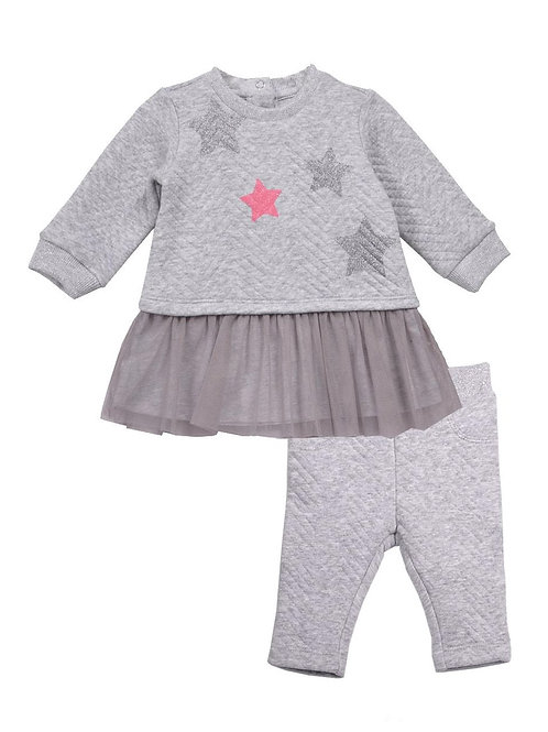 Christine Gray Star Jacquard Fabric 2-Piece Mesh Legging Sets