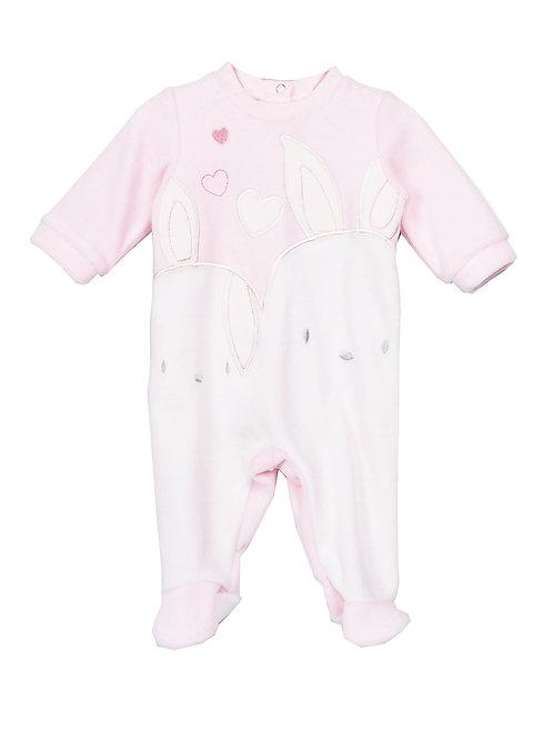 Cutie Baby Girls Soft Pink Velour Bodysuit