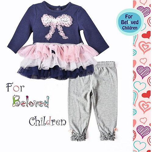 Laura Girls' Navy 2-Piece Mesh Tutu Legging Sets With Handmade Pink Bow