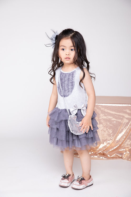 Girls' Grey Mesh Tiered Sleeveless Dress With Purse