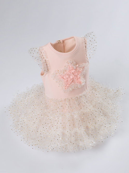 Anastasia Golden Glitter Tutu Dress With Handmade 3D Star