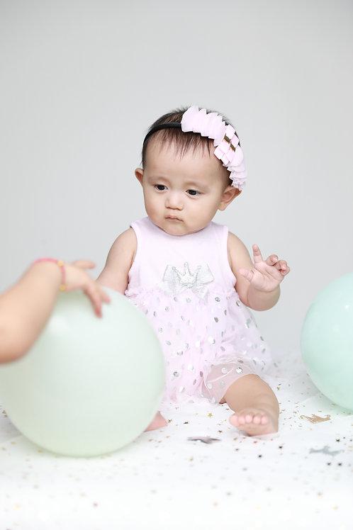 Baby Girls's Silver Dot Pink Mesh Popover