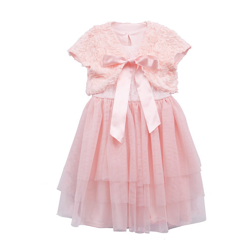 Alice Pink Tutu Dress With 3D Flower Shawl