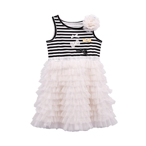 Maggie Black Stripe Top With 3D Flower White Tutu Dress