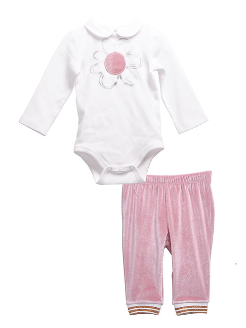 Chloe Pink Romper 2-Piece Legging Set