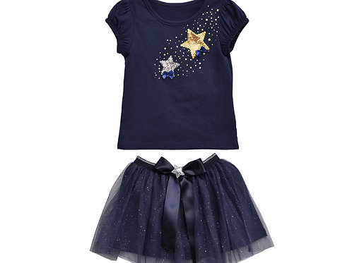Veronika Navy 2-Piece Sequins Stars Embroidery Skirt Sets