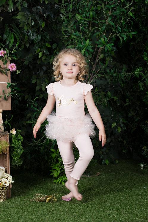 Maria Peach Colored 2-Piece Tutu Legging Sets