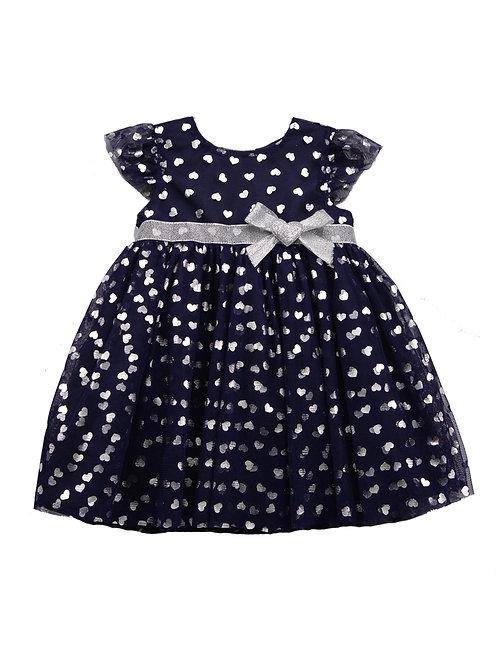 Elizabeth Navy Silver Foil Heart Mesh Princess Dress