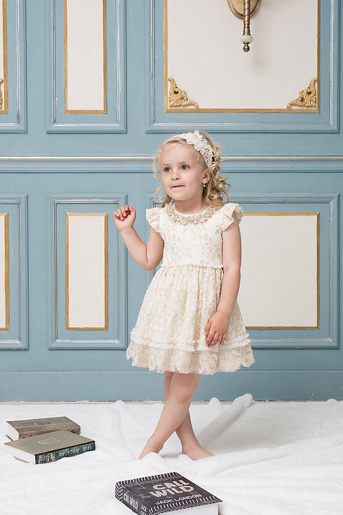 Grace Golden Flower Girl Dress With Lurex Lace