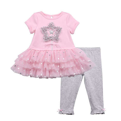 Mia Pink 2-Piece Legging Sets With 3D Star Applique