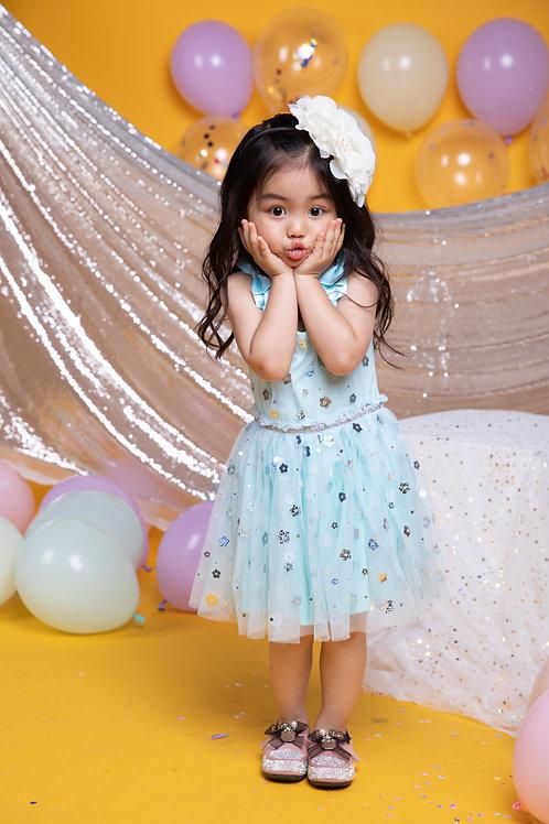 Girls Silver Flower Tiffany Blue Mesh Sleeveless Dress