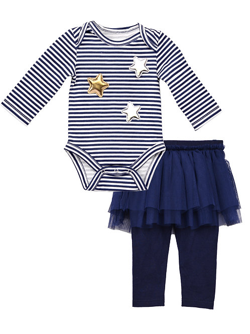 Penelope 2-Piece Romper Sets With Mesh Legging And Star Applique